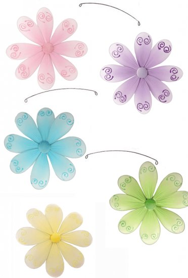 "24"""" Pink Purple Yellow Blue Green Swirl Flower Mobile - nylon hanging ceiling wall baby nursery roo"