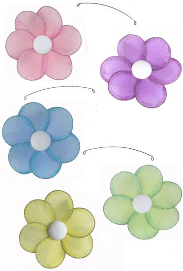 """24"""""""" Pink Purple Yellow Blue Green Single Layer Flower Mobile - nylon hanging ceiling wall baby nurs"""