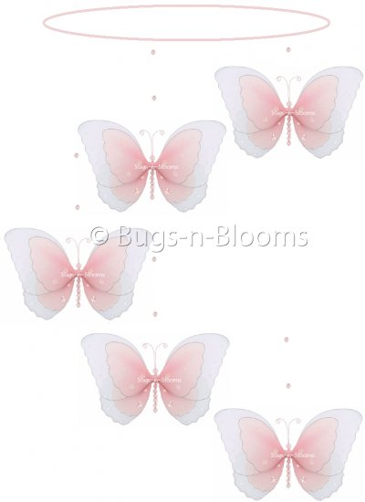 """24"""""""" Pink Multi Layered Spiral Butterfly Mobile - nylon hanging ceiling wall baby nursery room weddi"""