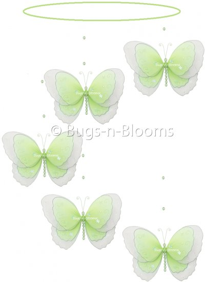 """24"""""""" Green Multi Layered Spiral Butterfly Mobile - nylon hanging ceiling wall baby nursery room wedd"""