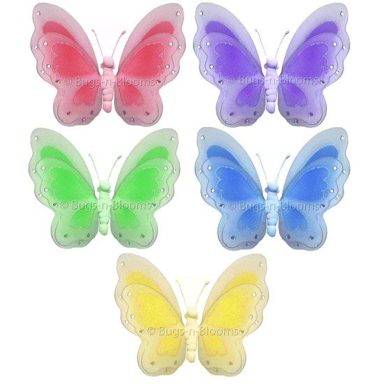 Lot Painted Butterflies 5 piece Set butterfly (Pink, Purple, Yellow, Blue, Green) - nylon hanging ce