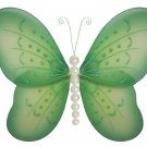 "10"""" Green Pearl Butterfly - nylon hanging ceiling wall baby nursery room wedding decor decoration d"