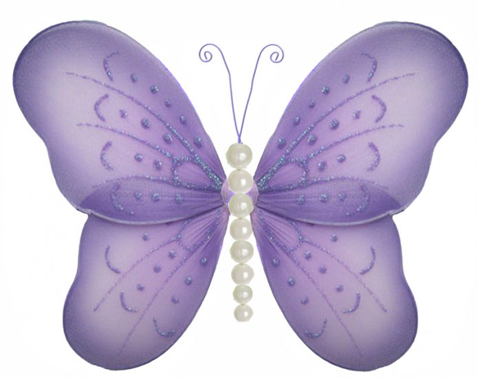 """5"""""""" Purple Pearl Butterfly - nylon hanging ceiling wall baby nursery room wedding decor decoration d"""