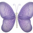 "5"""" Purple Pearl Butterfly - nylon hanging ceiling wall baby nursery room wedding decor decoration d"