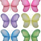"5"""" Lot Pearl Butterflies 6 piece Set butterfly (Pink, Dark Pink (Fuschia), Purple, Yellow, Blue, Gr"