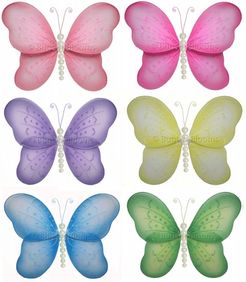 "13"""" Lot Pearl Butterflies 6 piece Set butterfly (Pink, Dark Pink (Fuschia), Purple, Yellow, Blue, G"