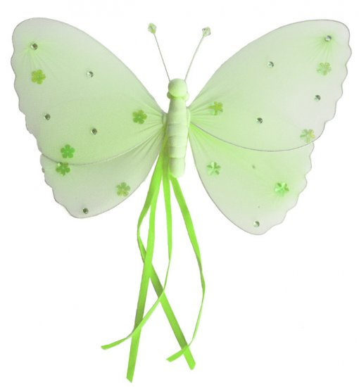 """10"""""""" Green Ribbons Butterfly - nylon hanging ceiling wall baby nursery room wedding decor decoration"""