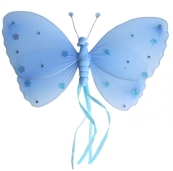 "10"""" Blue Ribbons Butterfly - nylon hanging ceiling wall baby nursery room wedding decor decoration"