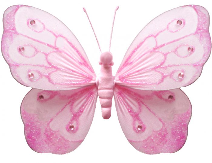 """10"""""""" Pink Shimmer Butterfly - nylon hanging ceiling wall baby nursery room wedding decor decoration"""