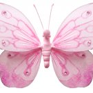 "13"""" Pink Shimmer Butterfly - nylon hanging ceiling wall baby nursery room wedding decor decoration"