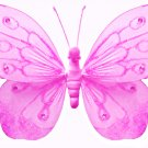 "10"""" Dark Pink (Fuschia) Shimmer Butterfly - nylon hanging ceiling wall baby nursery room wedding de"