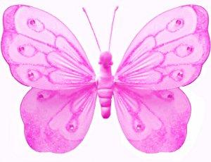"18"""" Dark Pink (Fuschia) Shimmer Butterfly - nylon hanging ceiling wall baby nursery room wedding de"