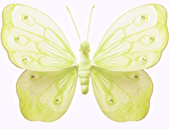"""10"""""""" Yellow Shimmer Butterfly - nylon hanging ceiling wall baby nursery room wedding decor decoratio"""