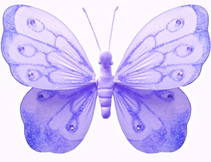 """5"""""""" Purple Shimmer Butterfly - nylon hanging ceiling wall baby nursery room wedding decor decoration"""