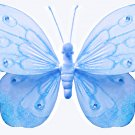 "10"""" Blue Shimmer Butterfly - nylon hanging ceiling wall baby nursery room wedding decor decoration"