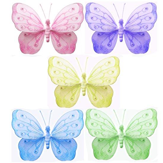 "10"""" Lot Shimmer Butterflies 5 piece Set butterfly (Pink, Purple, Yellow, Blue, Green) - nylon hangi"