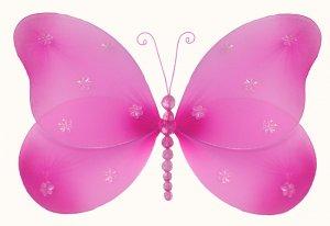 "10"""" Dark Pink (Fuschia) Sparkle Butterfly - nylon hanging ceiling wall baby nursery room wedding de"