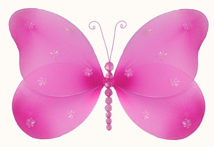 "13"""" Dark Pink (Fuschia) Sparkle Butterfly - nylon hanging ceiling wall baby nursery room wedding de"