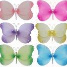 "7"""" Lot Sparkle Butterflies 6 piece Set butterfly (Pink, Dark Pink (Fuschia), Purple, Yellow, Blue,"