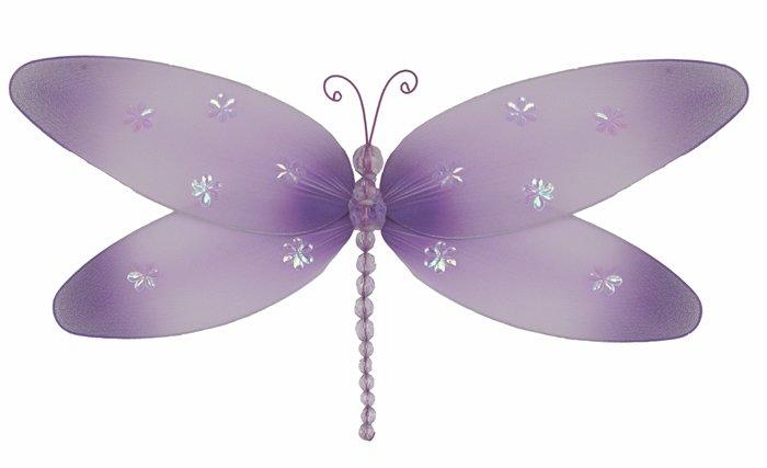 "7"""" Purple Sparkle Dragonfly - nylon hanging ceiling wall baby nursery room wedding decor decoration"