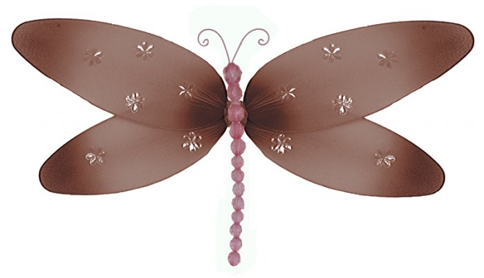 """10"""""""" Brown Pink Sparkle Dragonfly - nylon hanging ceiling wall baby nursery room wedding decor decor"""
