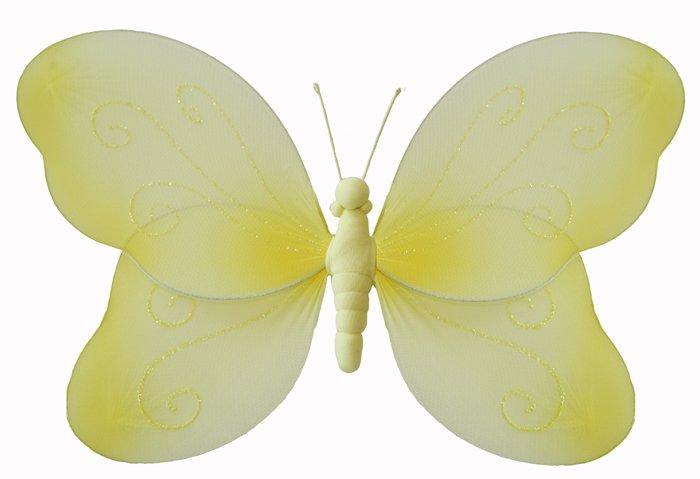 "7"""" Yellow Swirl Glitter Butterfly - nylon hanging ceiling wall baby nursery room wedding decor deco"