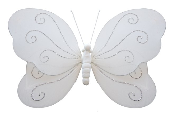 "7"""" White Swirl Glitter Butterfly - nylon hanging ceiling wall baby nursery room wedding decor decor"