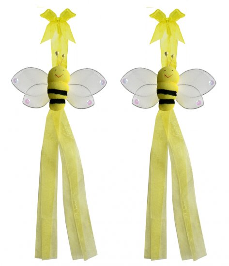 Yellow Smiling Bumble Bee Curtain Tieback Pair / Set - holder tiebacks tie backs girls nursery room
