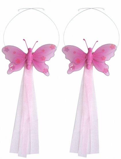 Dark Pink (Fuschia) Jewel Butterfly Curtain Tieback Pair / Set - holder tiebacks tie backs girls nur
