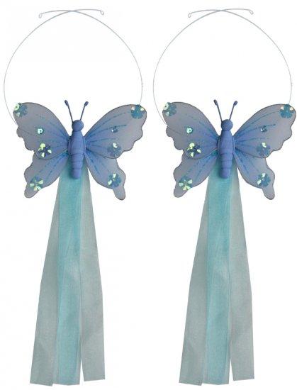 Blue Jewel Butterfly Curtain Tieback Pair / Set - holder tiebacks tie backs girls nursery room decor