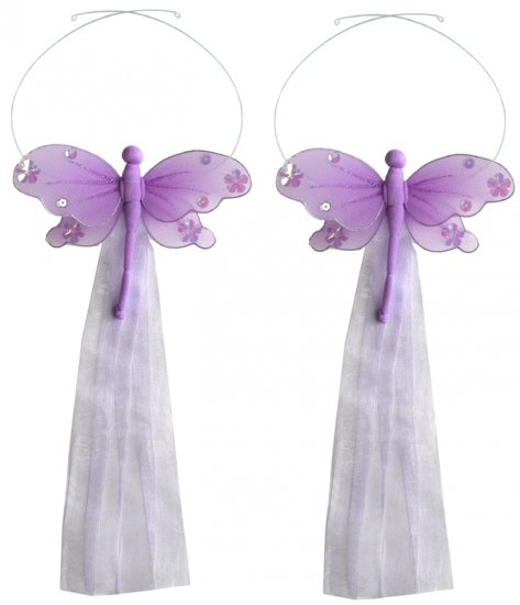 Purple Jewel Dragonfly Curtain Tieback Pair / Set - holder tiebacks tie backs girls nursery room dec
