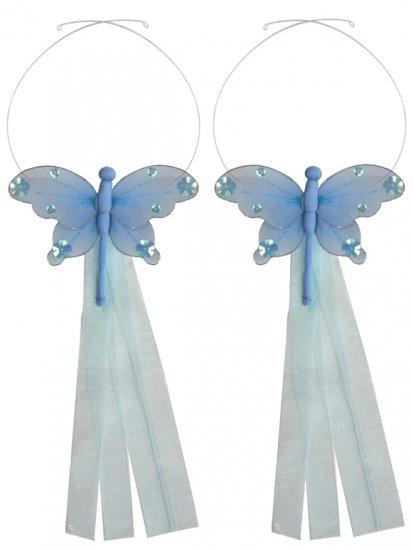 Blue Jewel Dragonfly Curtain Tieback Pair / Set - holder tiebacks tie backs girls nursery room decor