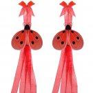 Red Shimmer Ladybug Curtain Tieback Pair / Set - holder tiebacks tie backs girls nursery room decor