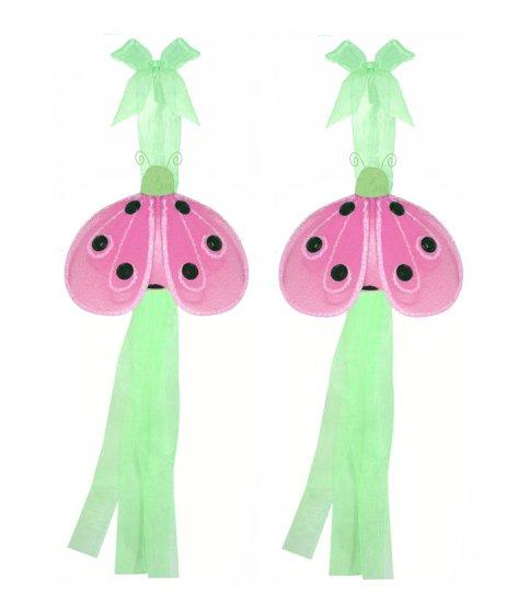 Green Pink Shimmer Ladybug Curtain Tieback Pair / Set - holder tiebacks tie backs girls nursery room