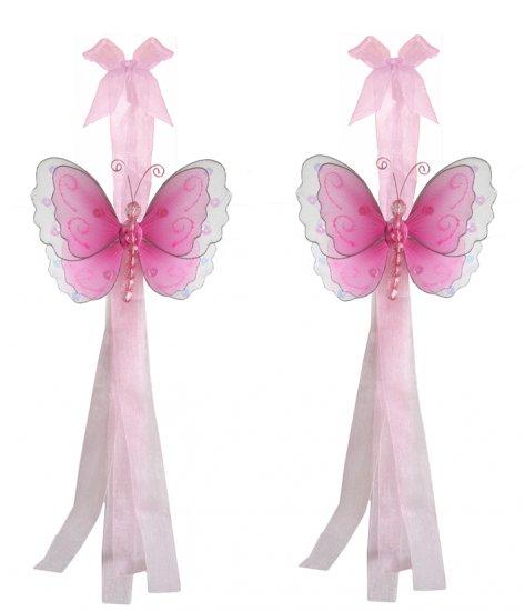 Dark Pink (Fuschia) Multi-Layered Butterfly Curtain Tieback Pair / Set - holder tiebacks tie backs g