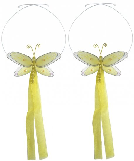 Yellow Multi-Layered Dragonfly Curtain Tieback Pair / Set - holder tiebacks tie backs girls nursery