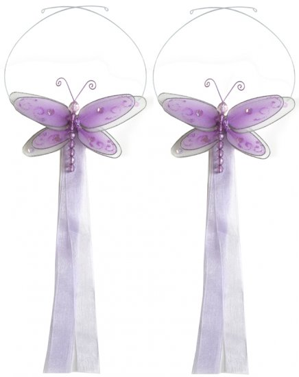 Purple Multi-Layered Dragonfly Curtain Tieback Pair / Set - holder tiebacks tie backs girls nursery