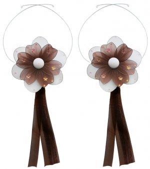 Brown Multi Layered Daisy Flower Curtain Tieback Pair / Set - holder tiebacks tie backs girls nurser