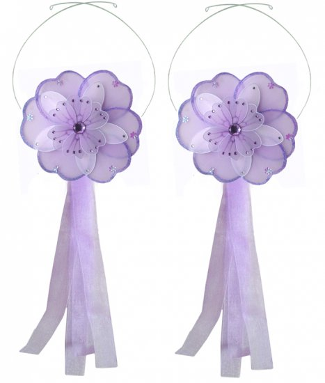 Purple White Triple Layered Daisy Flower Curtain Tieback Pair / Set - holder tiebacks tie backs girl