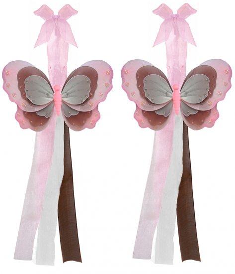 Pink Brown White Triple Layered Butterfly Curtain Tieback Pair / Set - holder tiebacks tie backs gir