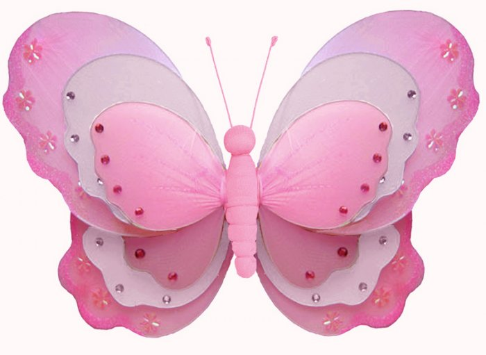 "13"""" Dark Pink (Fuschia) & White Triple Layered Butterfly - nylon hanging ceiling wall baby nursery"