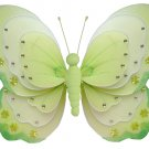 "13"""" Green & White Triple Layered Butterfly - nylon hanging ceiling wall baby nursery room wedding d"