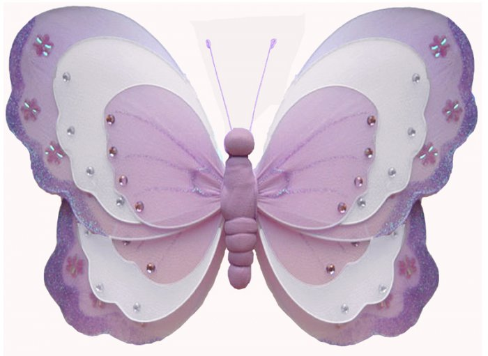 """7"""""""" Purple & White Triple Layered Butterfly - nylon hanging ceiling wall baby nursery room wedding d"""