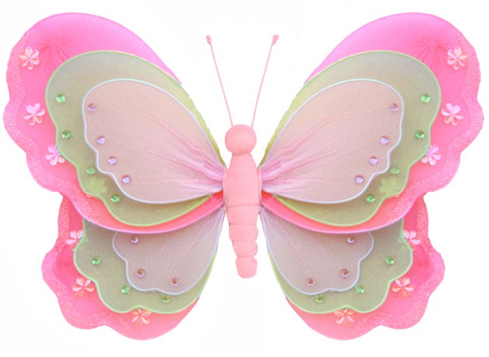 "13"""" Dark Pink (Fuschia), Green & Pink Triple Layered Butterfly - nylon hanging ceiling wall baby nu"