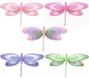 "13"" Triple Layered Dragonflies 5pc Set (Pink, Purple, Dk Pink, Green) decor decorations"