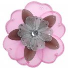 "10"""" Pink, Brown & White Triple Layered Daisy Flower nylon hanging ceiling wall baby nursery room de"