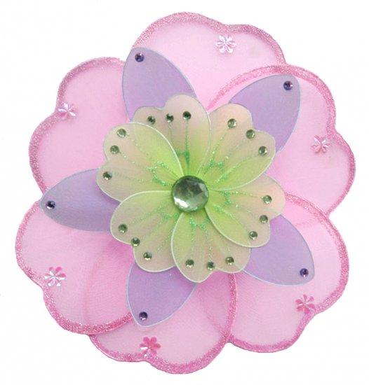 "10"""" Pink, Purple & Green Triple Layered Daisy Flower nylon hanging ceiling wall baby nursery room d"