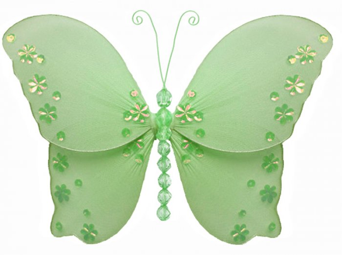 """5"""""""" Green Twinkle Bead Sequin Butterfly - nylon hanging ceiling wall baby nursery room wedding decor"""