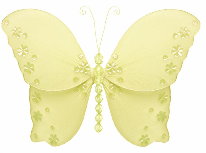 """18"""""""" Yellow Twinkle Bead Sequin Butterfly - nylon hanging ceiling wall baby nursery room wedding dec"""