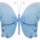 "13"""" Blue Twinkle Bead Sequin Butterfly - nylon hanging ceiling wall baby nursery room wedding decor"